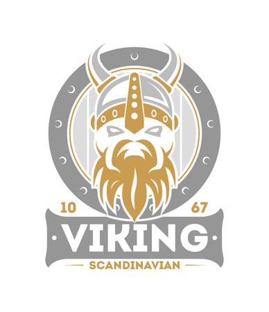 Viking warrior isolated label with horned helmet. Scandinavian viking badge, medieval barbarian emblem, nordic culture vector illustration.