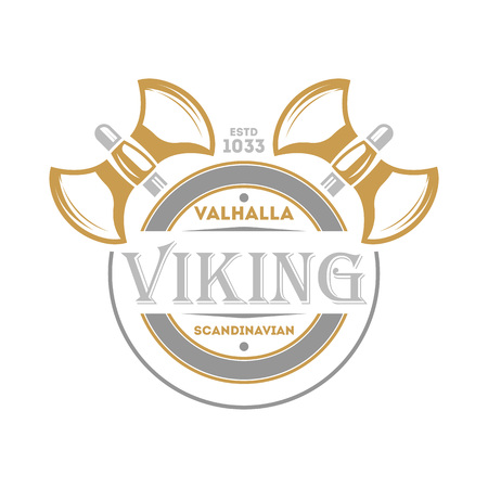 Viking vintage isolated label with warrior ax. Scandinavian viking badge, medieval barbarian emblem, nordic culture vector illustration.