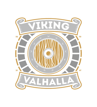 Viking valhalla isolated label with war shield. Scandinavian viking warrior badge, medieval barbarian emblem, nordic culture vector illustration.