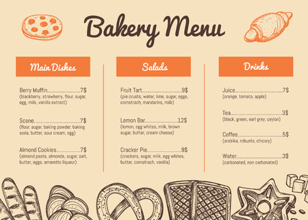 Bakery hand drawn restaurant menu template. Sweet pastry price catalog, handmade bread product shop banner, traditional natural food card vector illustration. Puff, pie, bagel and cookie sketches Stock Vector - 81373128