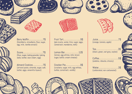Bakery hand drawn restaurant menu brochure. Sweet pastry price catalog, handmade bread product shop banner, traditional tasty food card vector illustration. Puff, pie, bagel and cookie sketches Illustration