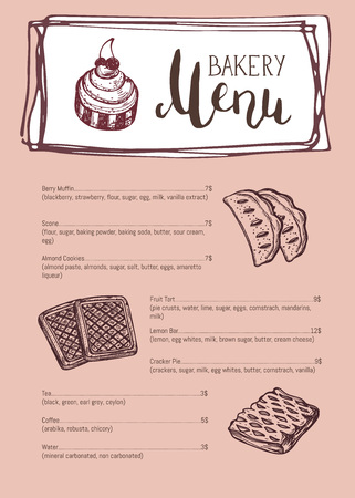 Bakery vintage restaurant menu template. Sweet pastry price catalog, handmade bakehouse product shop banner, traditional natural food card vector illustration. Hand drawn design with bakery sketches. Illustration
