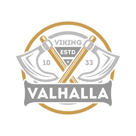 バイキング バルハラ分離ラベル交差 ax。スカンジナビアのヴァイキング戦士のバッジを中世の野蛮なエンブレム、北欧文化ベクトル イラスト。  イラスト・ベクター素材