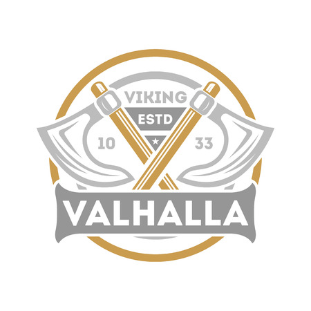 Viking valhalla isolated label with crossed ax. Scandinavian viking warrior badge, medieval barbarian emblem, nordic culture vector illustration. Иллюстрация