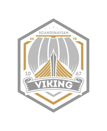 Viking vintage isolated label with sailboat. Scandinavian viking badge, medieval barbarian emblem, nordic culture vector illustration.