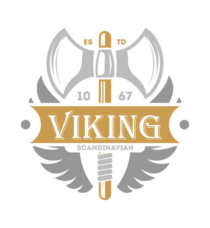 Viking vintage isolated label with poleaxe. Scandinavian viking warrior badge, medieval barbarian emblem, nordic culture vector illustration.