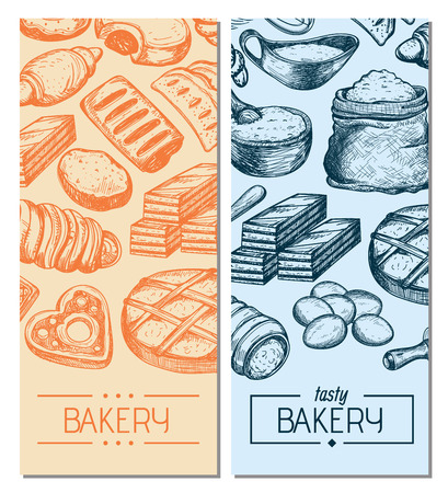 Homemade bakery product vintage flyers. Sweet pastry market advertising, bread product poster, bakehouse traditional natural food vector illustration. Puff, pie, bagel, cookie hand drawn sketches Illustration