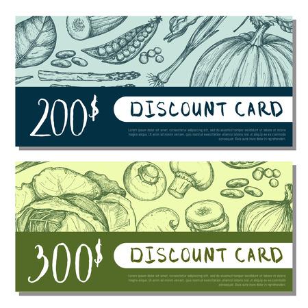 Organic food shop discount card set. Vegetarian product vector illustration, natural vegan food market gift voucher design, restaurant or cafe certificate layout with vegetables hand drawn sketches.
