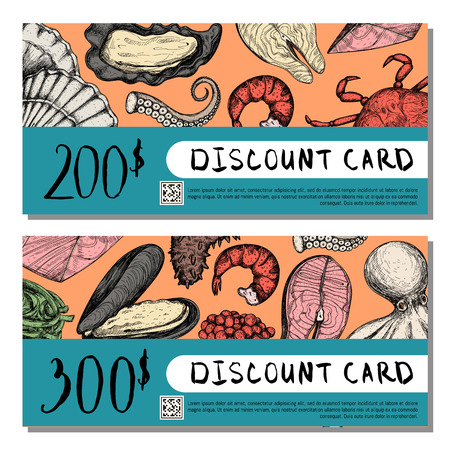 mackerel: Seafood shop discount card set. Gift voucher design with oyster, crab, scallop, shrimp, octopus sketches, certificate layout for fish restaurant or cafe. Natural healthy food vector illustration
