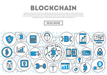Blockchain network linear style infographics. Distributed ledger technology, business cloud computing, global payment system, financial data protection, data processing, network communication concept Иллюстрация