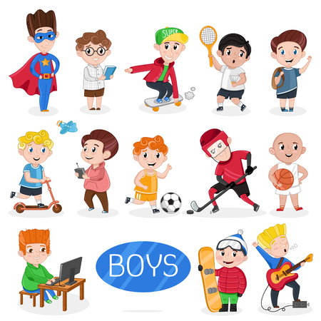 Happy boys characters in various actions. Sport game playing, outdoor activity, sing, education, riding on skateboard and kick scooter. Interesting children life, happy childhood vector illustration