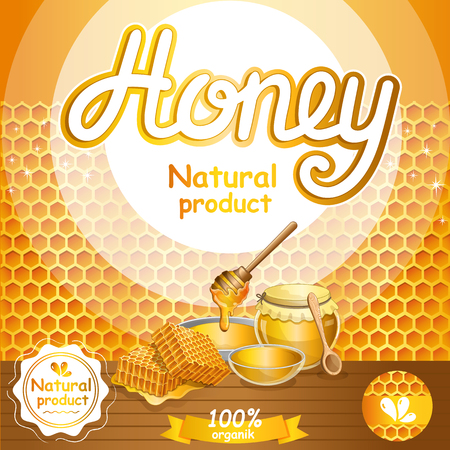 Natural honey advertising for retail. Glass honey jar, honeycomb and honey stick on wooden table. Organic and tasty product, traditional and healthy vegan food, sweet delicacy vector illustration.