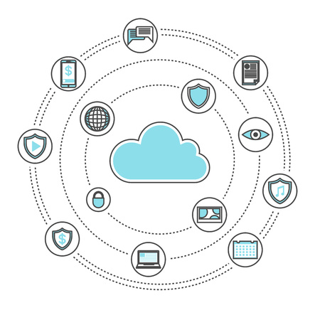 Cloud storage linear style infographics. Network cloud service, global data safety, financial system protection, online data backup, interactive media processing conceptual vector illustration Illustration