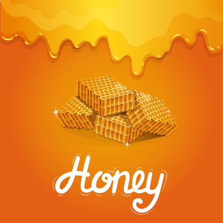 Natural honey poster in cartoon style. Fresh and tasty honeycomb pieces on orange background. Organic product advertising, traditional and healthy vegan food, sweet delicacy vector illustration.