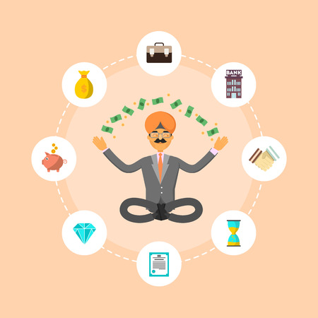 Indian businessman meditation in lotus pose and think about investing. Smart investment opportunity in securities, real estate or bank deposit. Business people, finance savings vector illustration Illustration