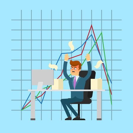 the collapsing: Angry businessman working on computer. Young man in business suit and tie on background of collapse graph. Business crisis concept, negative financial chart, information analysis vector illustration