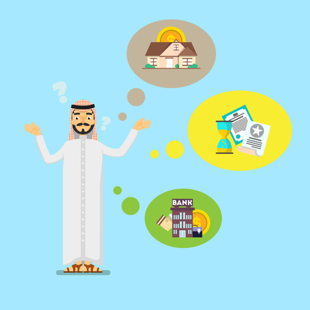 Arabian businessman in traditional clothing think about investing. Smart investment opportunity in securities, real estate or bank deposit. Business people banner, finance savings vector illustration
