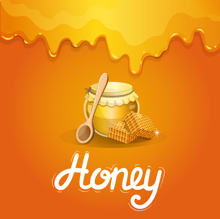 Natural honey poster in cartoon style. Illustration