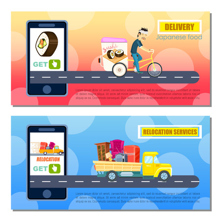 asian business: Japanese food and relocation service flyers. Express delivery poster with courier man on bicycle. Transport company banner with truck, moving service. Online order on mobile app vector illustration Illustration