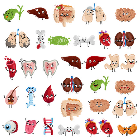 Happy and sad organs cartoon characters. Bone, lungs, eye, tongue, oesophagus, hair follicle, tooth, gallbladder, stomach, liver, thyroid, heart, kidneys, brain, intestine isolated vector illustration Çizim