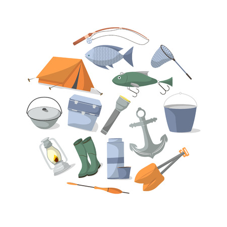 tackle box: Fishing banner with fisher equipment icons. Tourist tent, anchor, fishhook, float, fishing rod, paddle, thermos, flashlight, rubber boots, camp boiler, cooler box vector illustration in flat style. Illustration