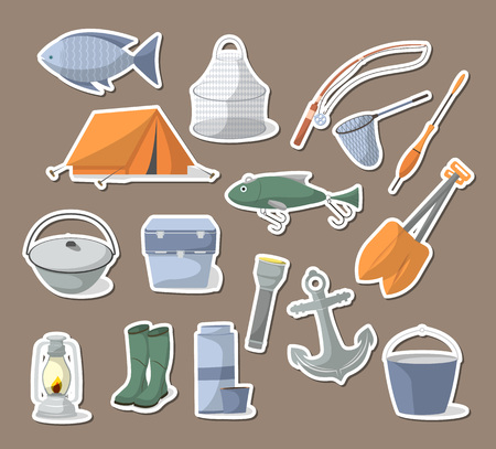 tackle box: Fishing icons set in flat style. Tourist tent, anchor, fishhook, float, fishing rod, paddle, thermos, flashlight, rubber boots, camp boiler, cooler box. Fisher equipment isolated vector illustration