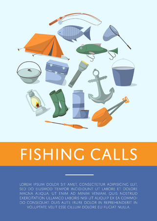 Fishing shop advertising poster in flat style. Tourist tent, anchor, fishhook, float, fishing rod, paddle, thermos, flashlight, rubber boots, boiler, cooler box. Fisher equipment vector illustration Illustration