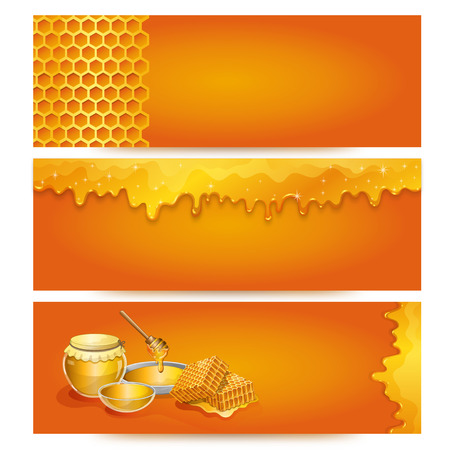 Natural honey advertising for organic shop Illustration