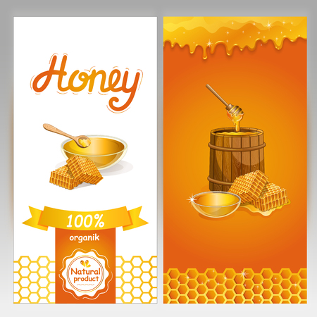 Natural honey advertising for vegan shop. Glass bowl, honeycomb and honey stick and wooden barrel with honey. Organic product, traditional and healthy food, sweet delicacy vector illustration. Illustration