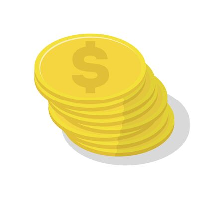 Gold coin stack icon. Money success symbol, financial and banking sign isolated on white background vector illustration. Çizim