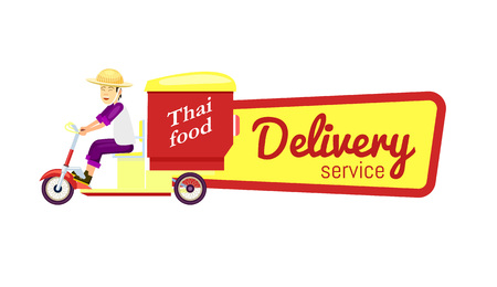 Thai fast food delivery isolated sticker. Online order food on home, commercial shipping advertising vector illustration. Restaurant food express delivery service label with courier man on scooter Çizim