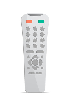 wireless icon: Plastic remote control for electronics icon. Front view modern infrared controller with buttons isolated on white background vector illustration. Illustration