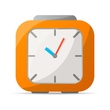 Analog alarm clock icon. Mechanical time chronometer, retro watch isolated vector illustration in flat style. Illustration