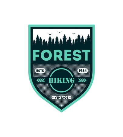 森林ハイキング ヴィンテージは、バッジを分離しました。屋外遠征シンボル、自然エクスプ ローラー、極端な観光ラベル ベクトル図