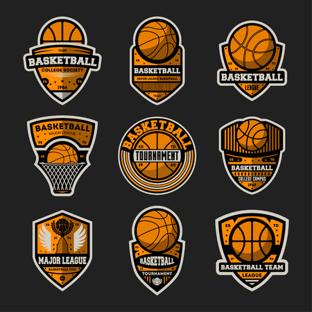 Basketball tournament vintage isolated label set. Basketball major league, championship symbol, sport colleague society icon, athletic camp logo. Basketball team badge collection vector illustration Illustration