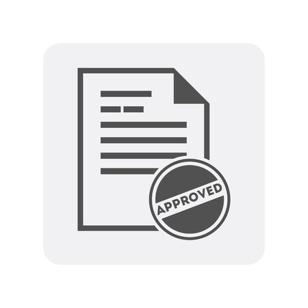 Creditworthiness icon with document sign. Credit score symbol, financial history, commercial bank pictogram isolated vector illustration