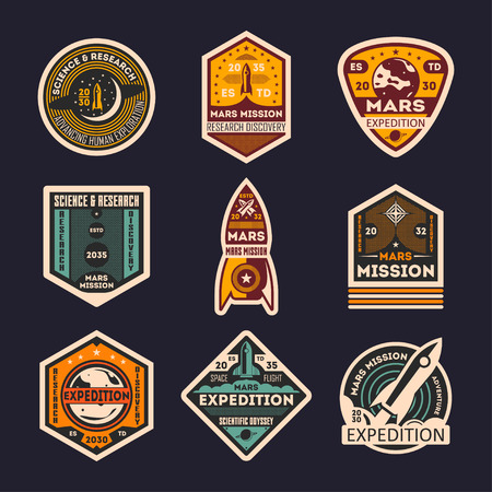 colonization: Mars mission retro isolated label set. Space expedition badge, scientific odyssey symbol, modern spacecraft flying, martian discovery vector illustration. Planet colonization vintage sign collection.