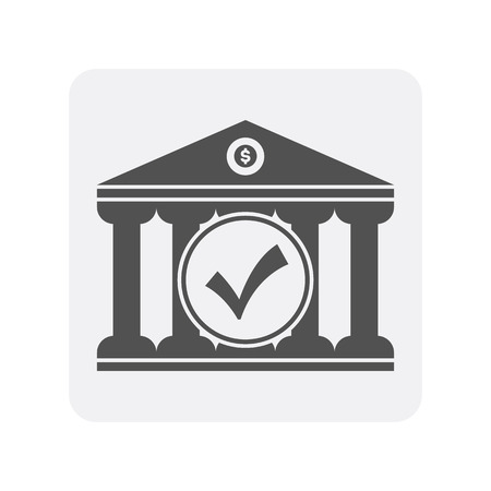 Creditworthiness icon with bank building element. Credit score symbol, financial history, commercial bank pictogram isolated vector illustration