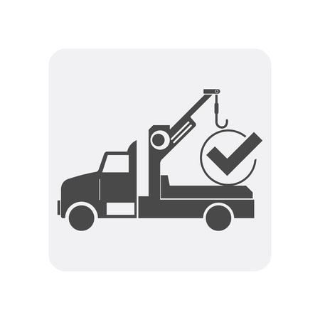 Car diagnostics icon with tow truck element. Auto repair service symbol, automobile center pictogram isolated vector illustration 向量圖像