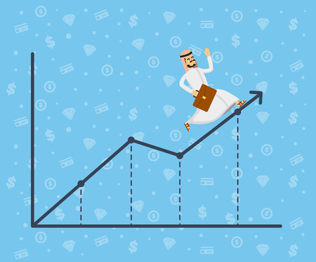 Arabian businessman running along growth graph. Young man in traditional clothing moving to career success and business growth. Business people, finance statistics and analytics vector illustration