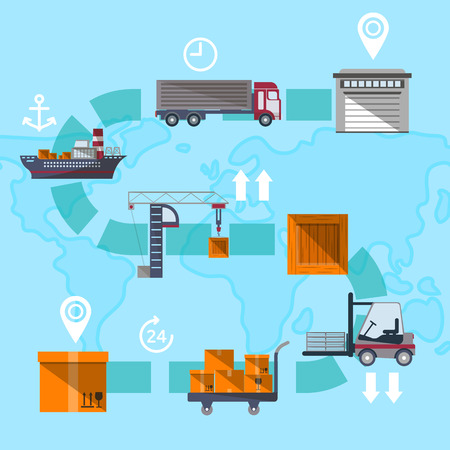 coordinating: Logistic management concept with goods route. Commercial vehicle