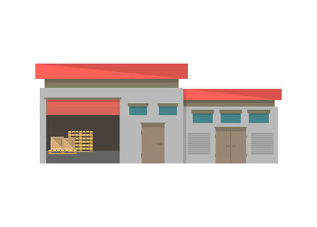 warehouse building: Commercial storage building isolated icon, Business real estate, front view cargo warehouse vector illustration in flat design. Illustration