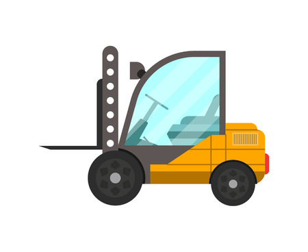 Storage forklift truck isolated icon for Goods distribution, freight shipping company, cargo delivery and logistics vector illustration in flat design.