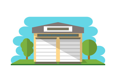warehouse building: Commercial storehouse building isolated icon for Business real estate, front view cargo warehouse vector illustration in flat design. Illustration