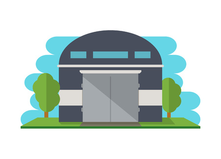 warehouse building: Modern storehouse building isolated icon for Business real estate, front view cargo warehouse vector illustration in flat design.