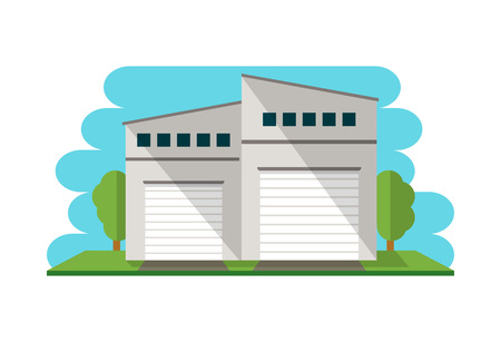 warehouse building: Commercial warehouse building isolated icon for Business real estate, front view cargo storehouse vector illustration in flat design.