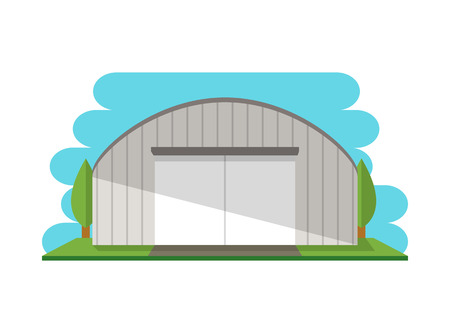 Modern storage terminal isolated icon. Business real estate, front view cargo storehouse vector illustration in flat design.  イラスト・ベクター素材
