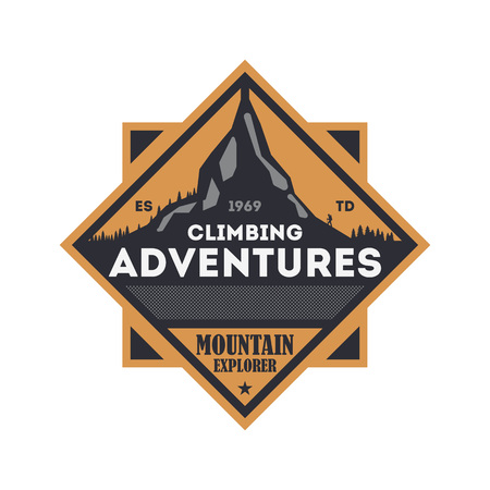 mountaintop: Climbing adventures vintage isolated badge. Illustration