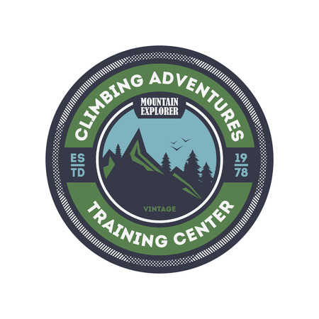 mountaintop: Climbing training centre vintage isolated badge.