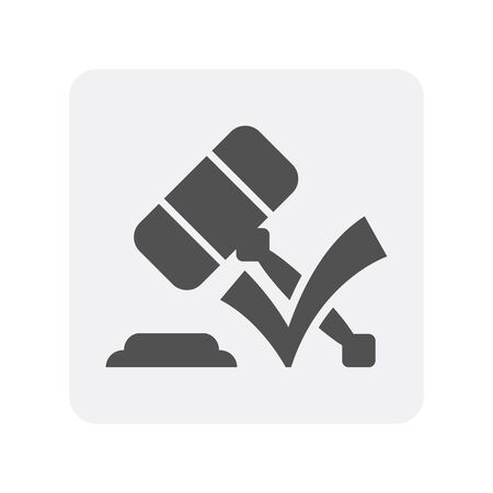 Creditworthiness icon with gavel element. Credit score symbol, financial history, commercial bank pictogram isolated vector illustration Illustration